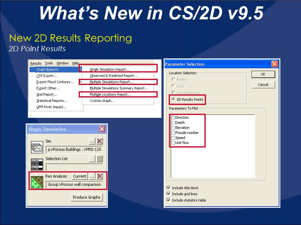New 2D Results Reporting 2D Point Results What's New in CS/2D v9.5