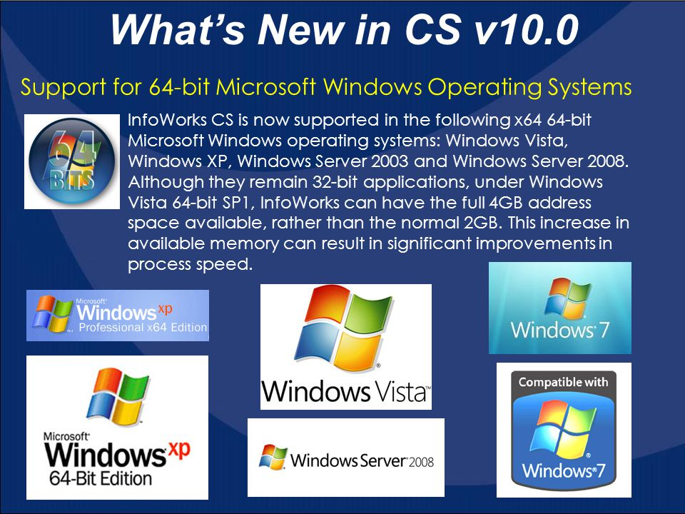 Support for 64-bit Microsoft Windows Operating Systems What's New in CS v10.0 InfoWorks CS is now supported in the following x64 64-bit Microsoft Wind