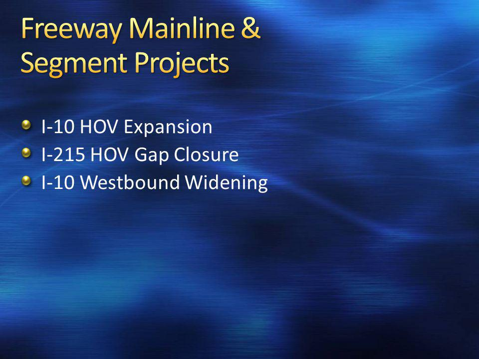 I-10 HOV Expansion I-215 HOV Gap Closure I-10 Westbound Widening