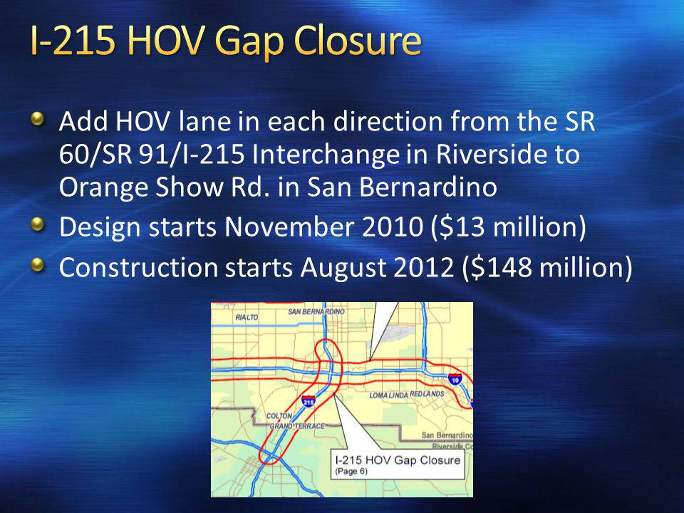 Add HOV lane in each direction from the SR 60/SR 91/I-215 Interchange in Riverside to Orange Show Rd.