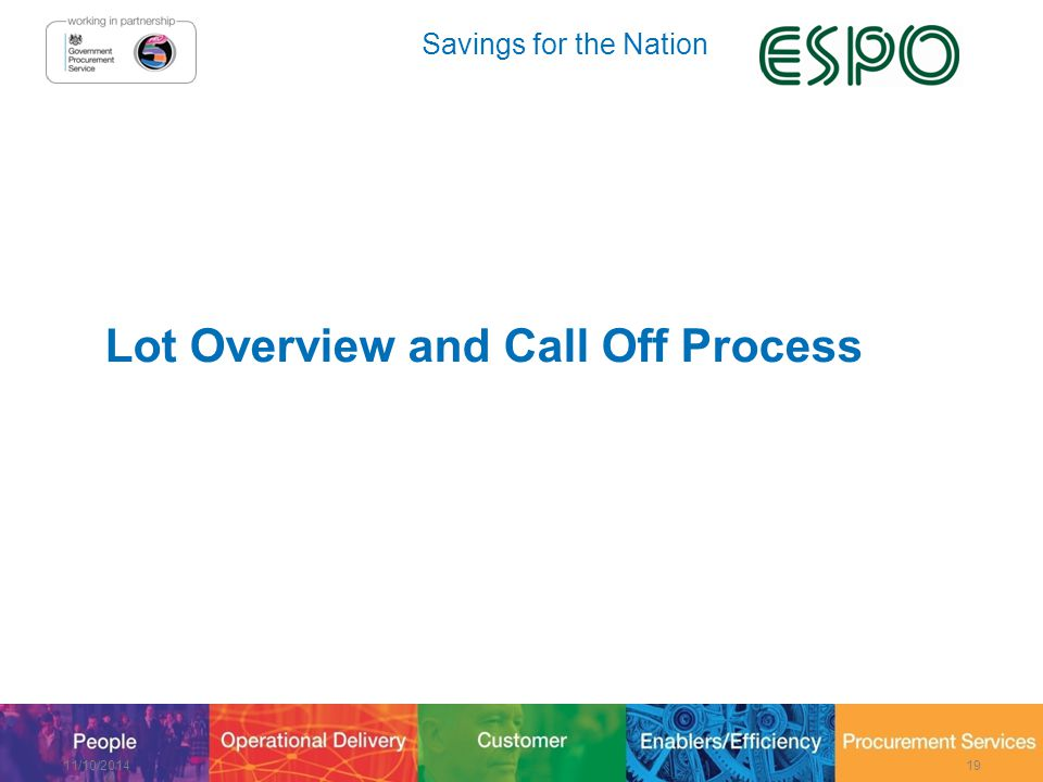 Savings for the Nation Lot Overview and Call Off Process 11/10/201419