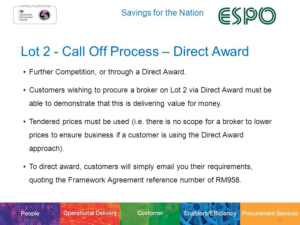 Savings for the Nation Lot 2 - Call Off Process – Direct Award Further Competition, or through a Direct Award.