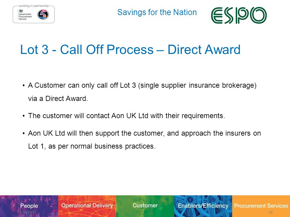 Savings for the Nation Lot 3 - Call Off Process – Direct Award A Customer can only call off Lot 3 (single supplier insurance brokerage) via a Direct Award.
