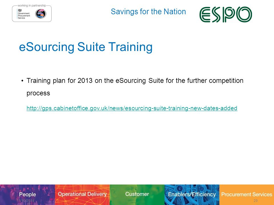 Savings for the Nation eSourcing Suite Training Training plan for 2013 on the eSourcing Suite for the further competition process http://gps.cabinetoffice.gov.uk/news/esourcing-suite-training-new-dates-added 11/10/201429