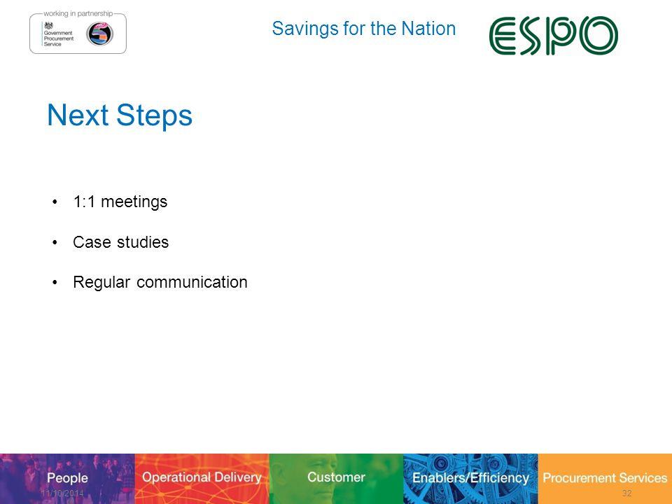 Savings for the Nation Next Steps 1:1 meetings Case studies Regular communication 11/10/201432