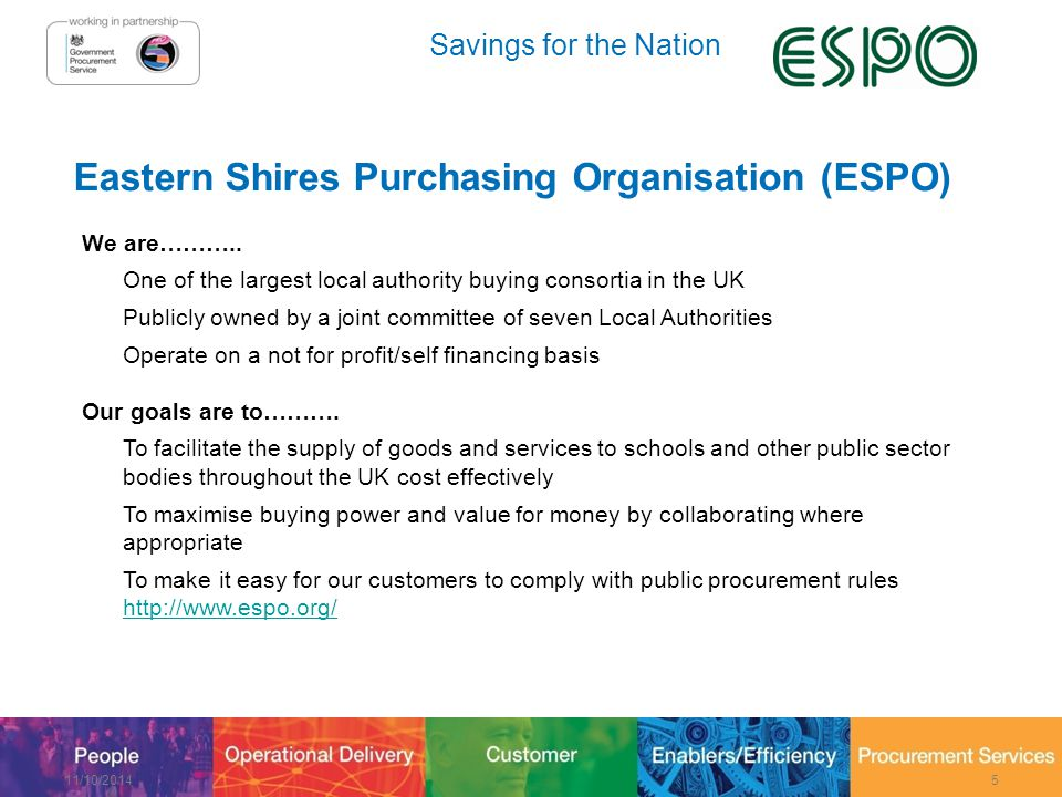 Savings for the Nation Eastern Shires Purchasing Organisation (ESPO) We are………..