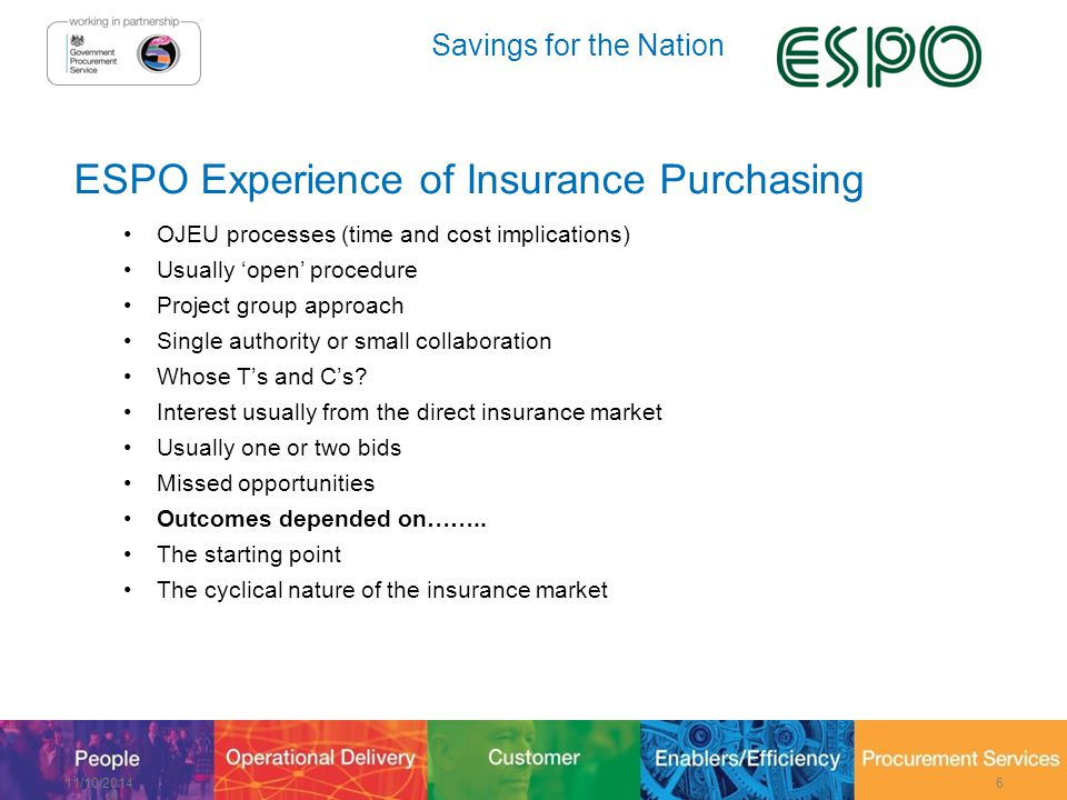 Savings for the Nation Lot 1 – Insurance Services Continued Groupama Insurance Company Ltd Groves John & Westrup Ltd Hiscox International Transport Intermediaries Club Ltd JLT Public Sector Risk Practice 11/10/201437 Mitsui Sumitomo Insurance Underwriting at Lloyd's Ltd Motor Accident Protection Services Ltd Northern Marine Underwriters Ltd Ocaso SA Seguros y Reaseguros