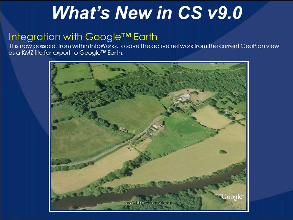 What's New in CS v9.0 Improvement to Find GIS Object Tool In previous versions of InfoWorks, searches could only be made on text fields.