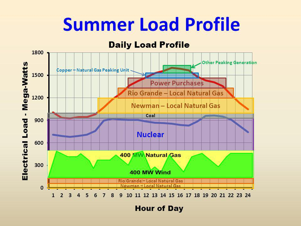 Summer Load Profile Nuclear Coal Newman – Local Natural Gas Rio Grande – Local Natural Gas Power Purchases Copper – Natural Gas Peaking Unit Other Pea