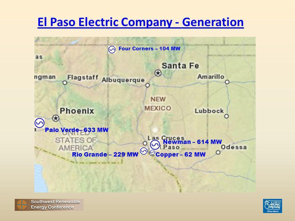 El Paso Electric Company - Generation Four Corners – 104 MW Palo Verde– 633 MW Rio Grande – 229 MW Newman – 614 MW Copper – 62 MW