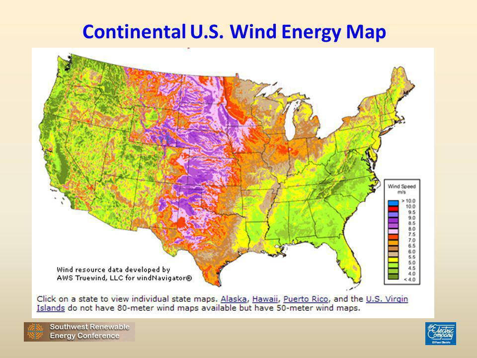 Continental U.S. Wind Energy Map