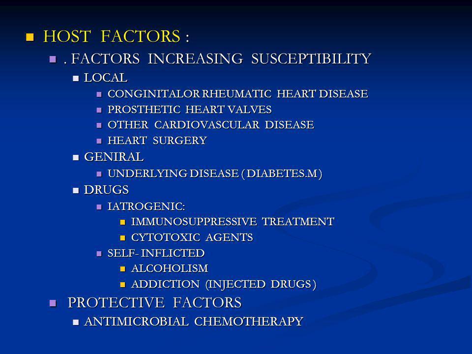 HOST FACTORS : HOST FACTORS :.FACTORS INCREASING SUSCEPTIBILITY.