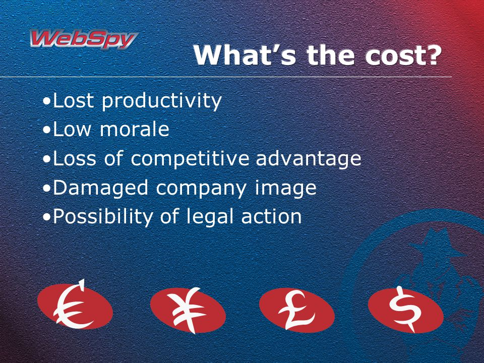 Lost productivity Low morale Loss of competitive advantage Damaged company image Possibility of legal action