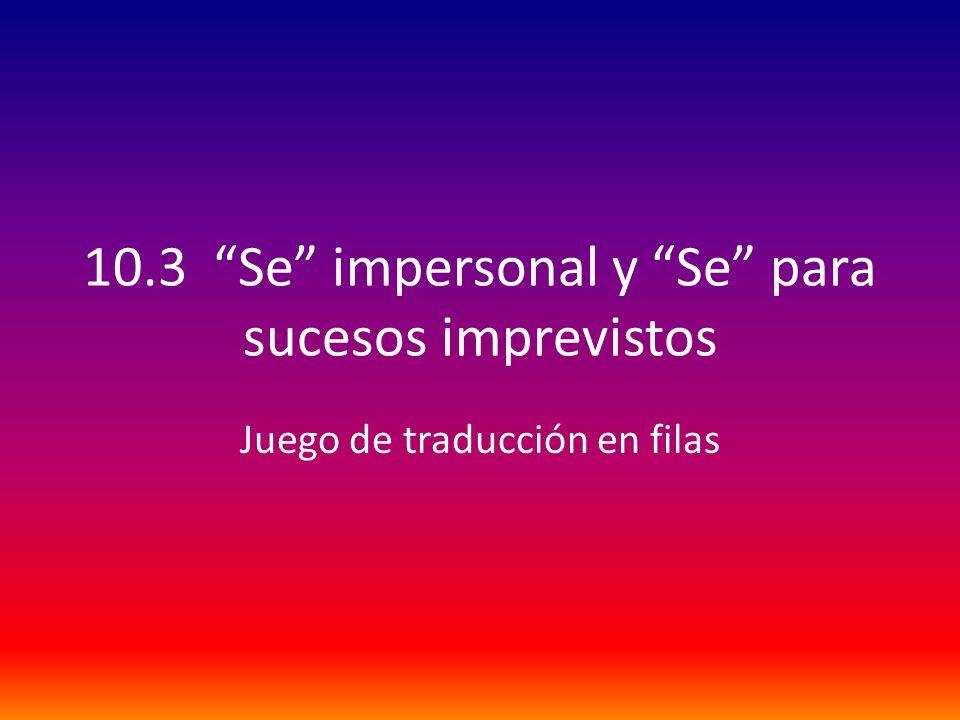 10.3 Se impersonal y Se para sucesos imprevistos Juego de traducción en filas