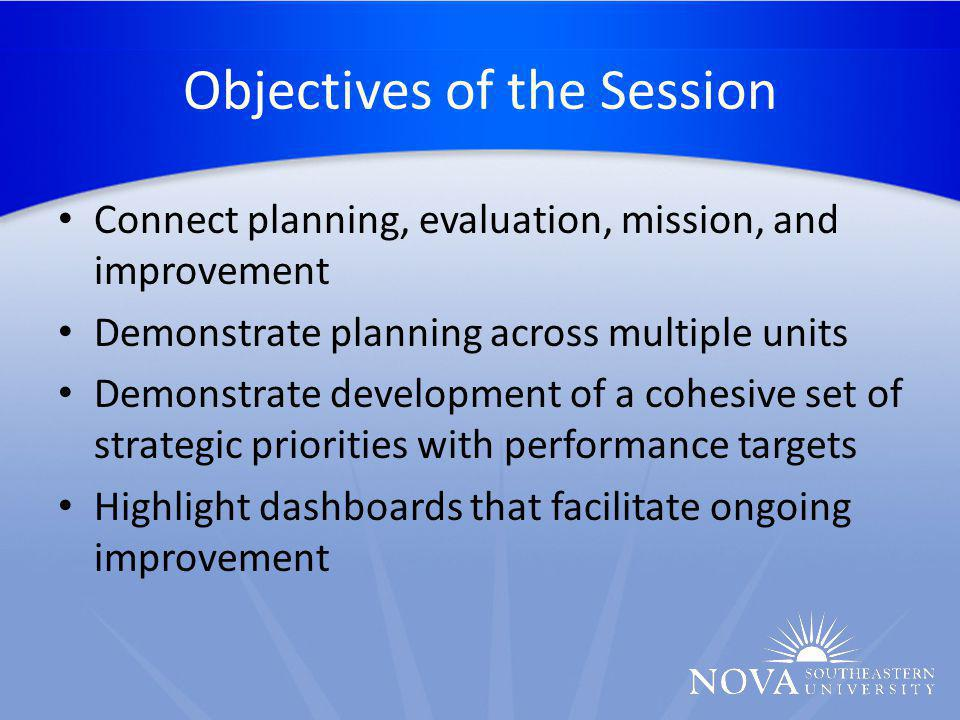 Session Outline 1.Nova Southeastern University Overview 2.Leadership at NSU 3.Opportunities and Challenges 4.Development of Vision, Mission, Core Values, and Strategic Priorities 5.Assessment 6.Benefits of Strategic Planning and Relation to CR 2.5