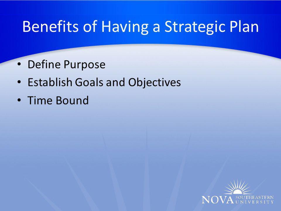 Benefits of Having a Strategic Plan Define Purpose Establish Goals and Objectives Time Bound