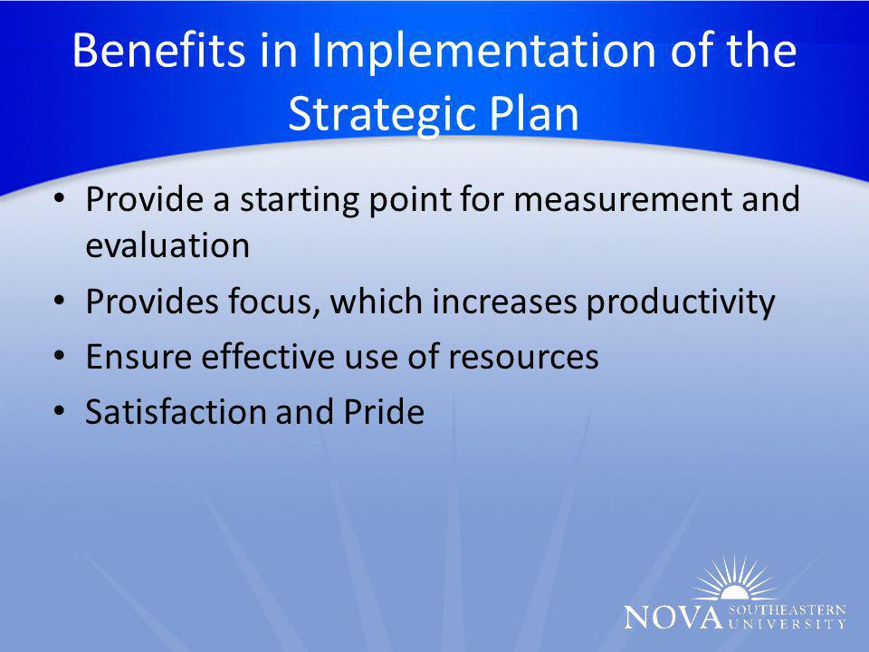 Benefits in Implementation of the Strategic Plan Provide a starting point for measurement and evaluation Provides focus, which increases productivity Ensure effective use of resources Satisfaction and Pride