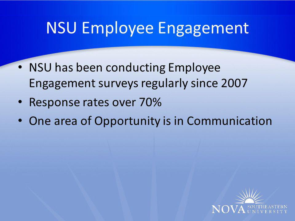 NSU Employee Engagement NSU has been conducting Employee Engagement surveys regularly since 2007 Response rates over 70% One area of Opportunity is in Communication
