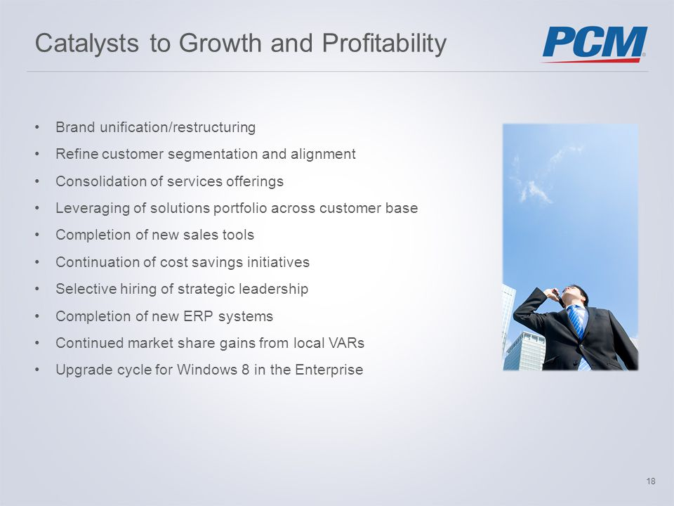 Catalysts to Growth and Profitability Brand unification/restructuring Refinecustomer segmentation and alignment Consolidation of services offerings Leveraging of solutions portfolio across customer base Completion of new sales tools Continuation of cost savings initiatives Selective hiring of strategic leadership Completion of new ERP systems Continued market share gains from local VARs Upgrade cycle for Windows 8 in the Enterprise 18