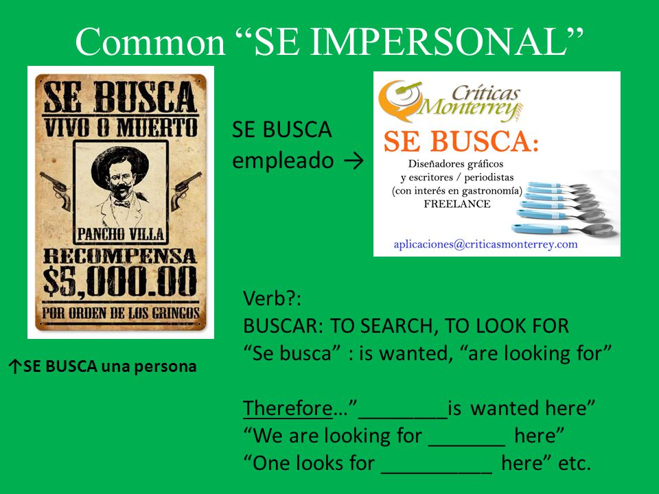 Common SE IMPERSONAL Verb : BUSCAR: TO SEARCH, TO LOOK FOR Se busca : is wanted, are looking for Therefore… ________is wanted here We are looking for _______ here One looks for __________ here etc.