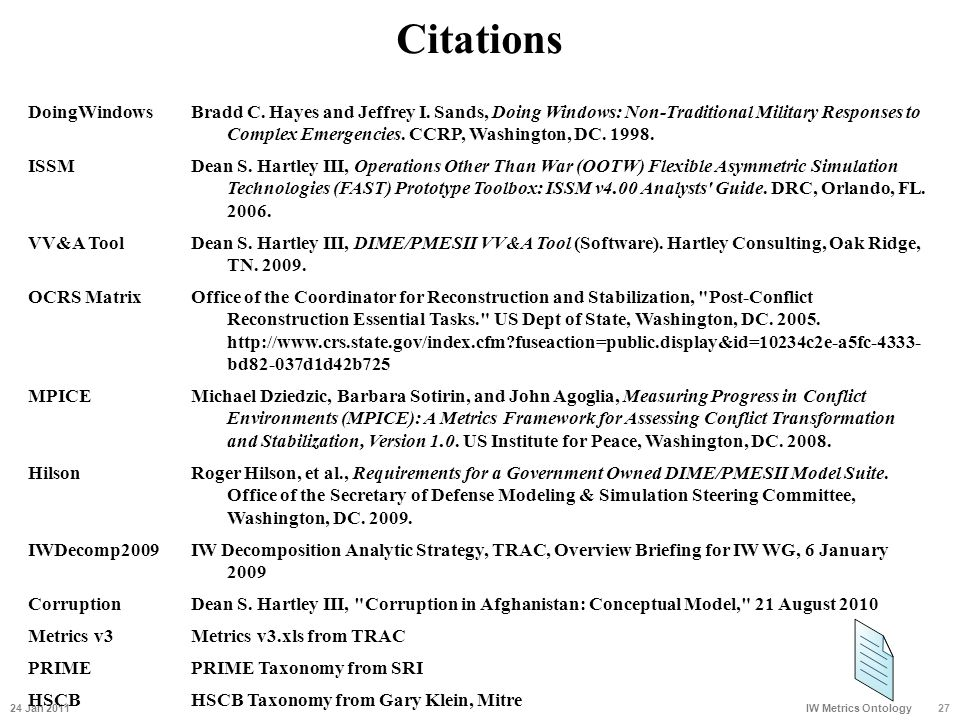 Citations 24 Jan 201127 IW Metrics Ontology DoingWindowsBradd C. Hayes and Jeffrey I. Sands, Doing Windows: Non-Traditional Military Responses to Comp