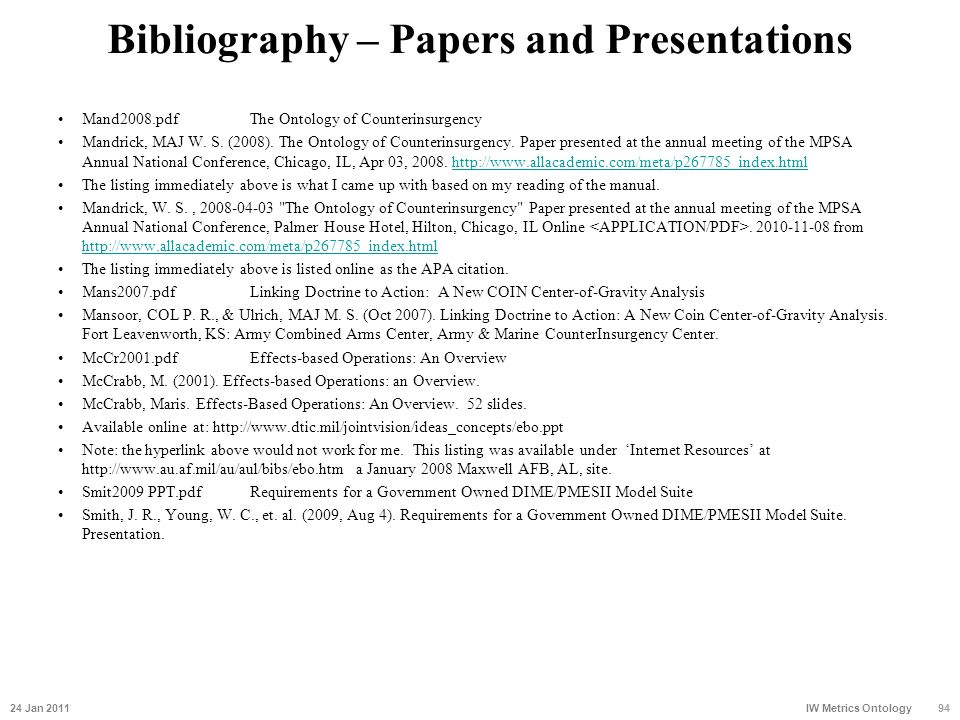 Bibliography – Papers and Presentations Mand2008.pdfThe Ontology of Counterinsurgency Mandrick, MAJ W. S. (2008). The Ontology of Counterinsurgency. P