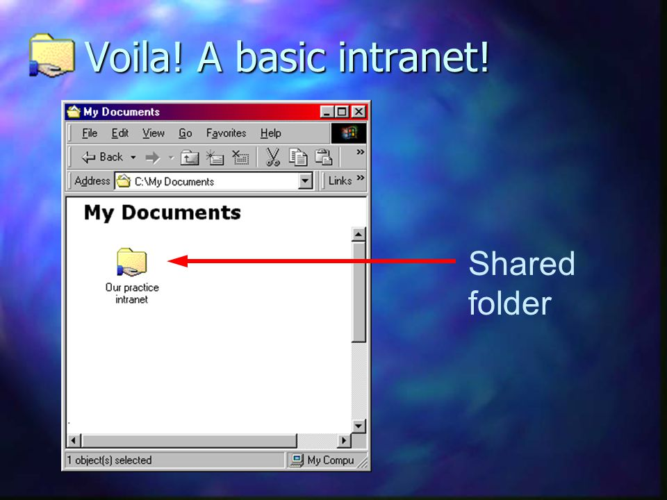 Voila! A basic intranet! Shared folder