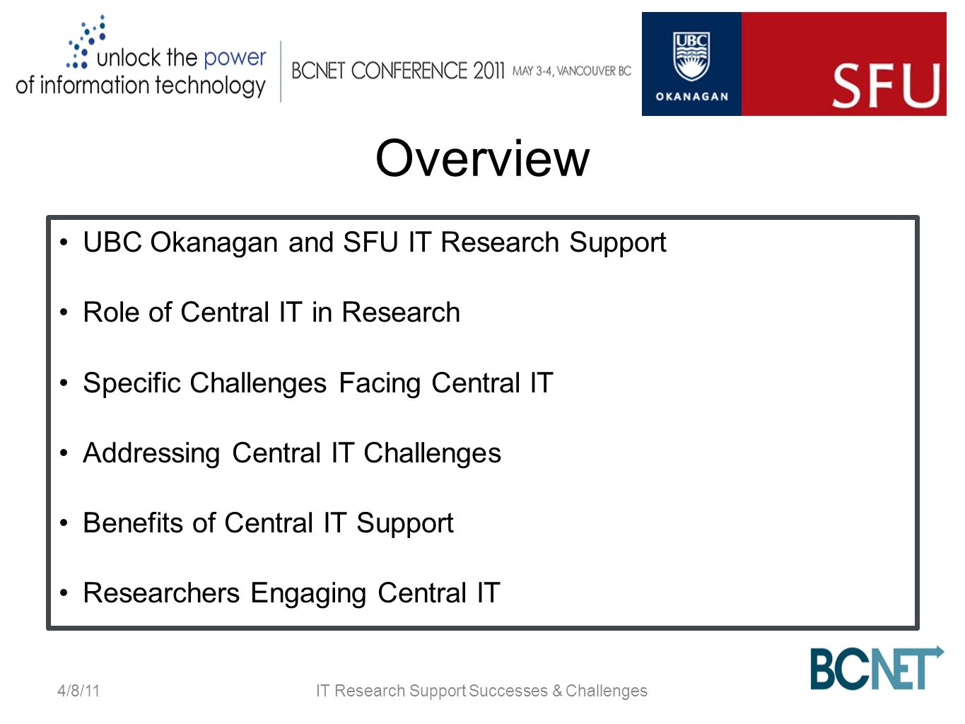 Overview UBC Okanagan and SFU IT Research Support Role of Central IT in Research Specific Challenges Facing Central IT Addressing Central IT Challenges Benefits of Central IT Support Researchers Engaging Central IT 4/8/11IT Research Support Successes & Challenges
