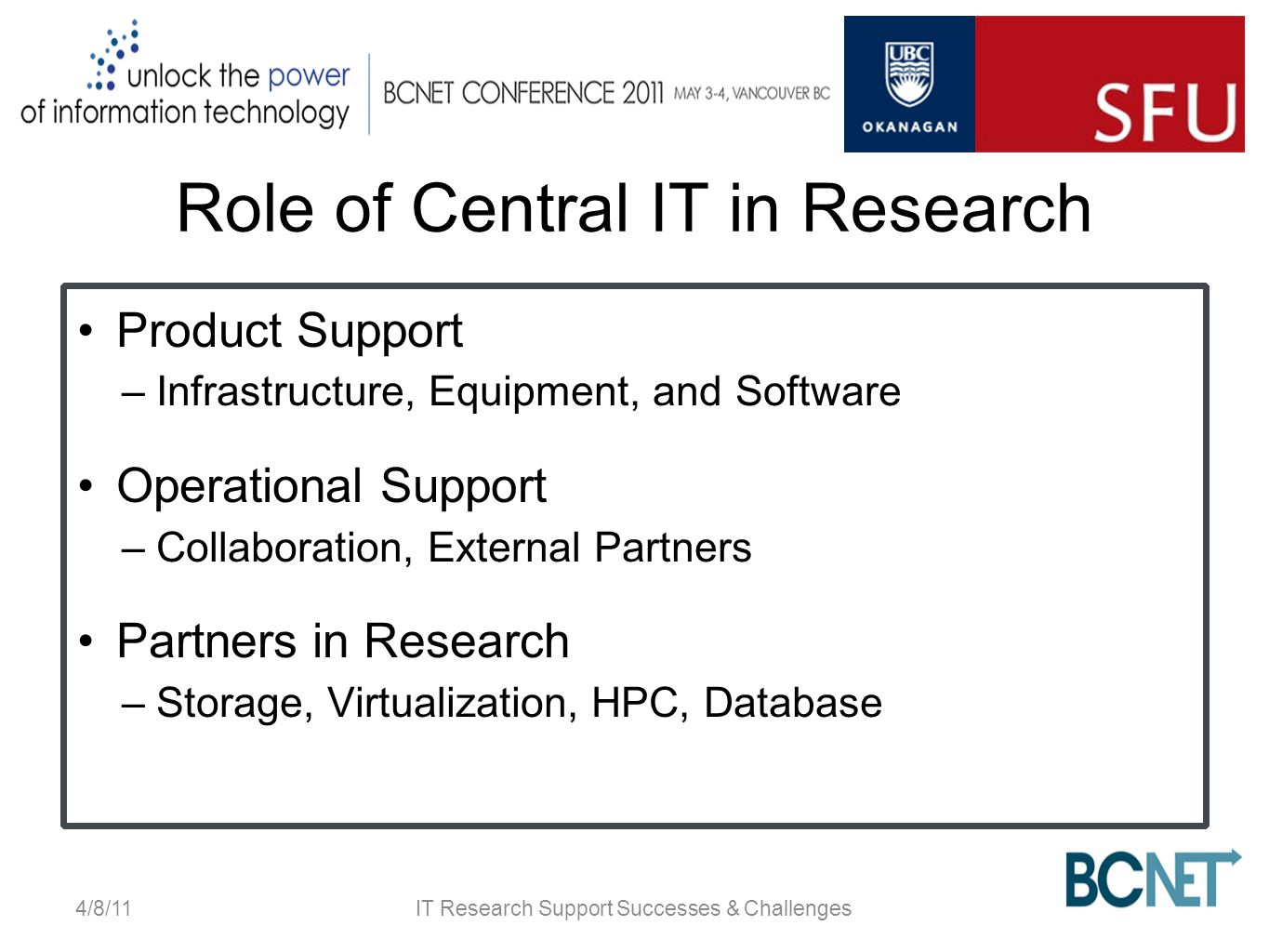 Role of Central IT in Research Product Support –Infrastructure, Equipment, and Software Operational Support –Collaboration, External Partners Partners in Research –Storage, Virtualization, HPC, Database 4/8/11IT Research Support Successes & Challenges