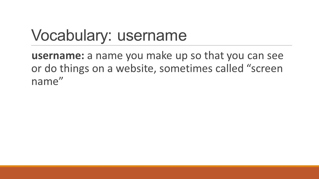 Vocabulary: username username: a name you make up so that you can see or do things on a website, sometimes called screen name