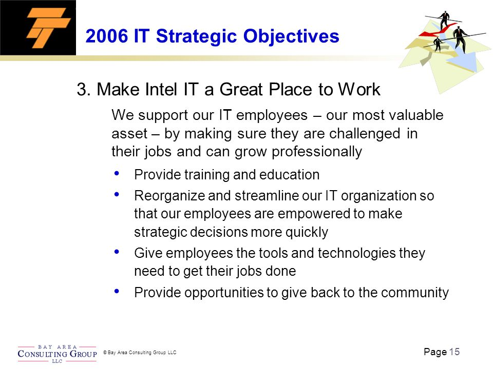 Page 15 © Bay Area Consulting Group LLC 2006 IT Strategic Objectives 3.