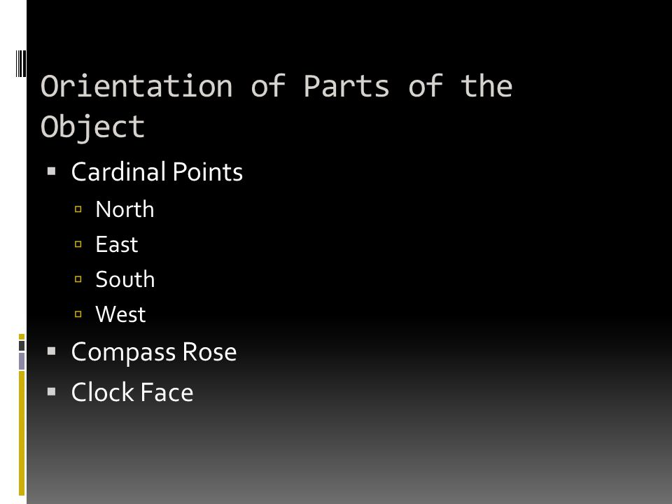 Orientation of Parts of the Object  Cardinal Points  North  East  South  West  Compass Rose  Clock Face