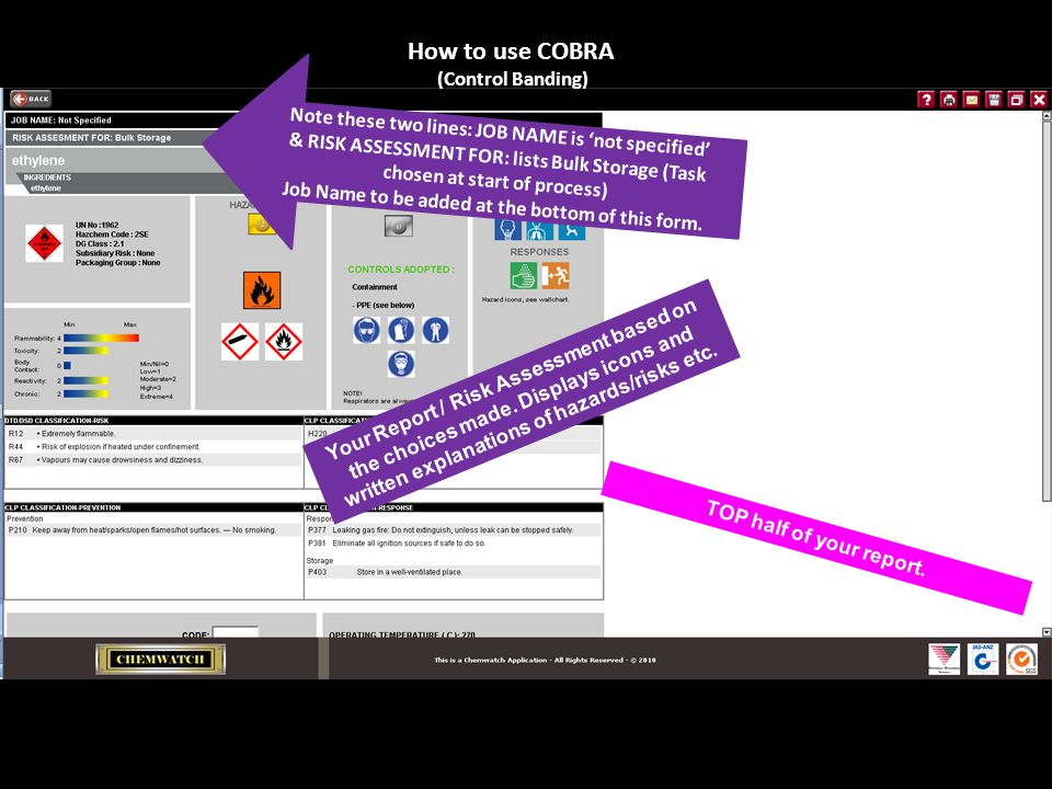 How to use COBRA (Control Banding) Your Report / Risk Assessment based on the choices made.