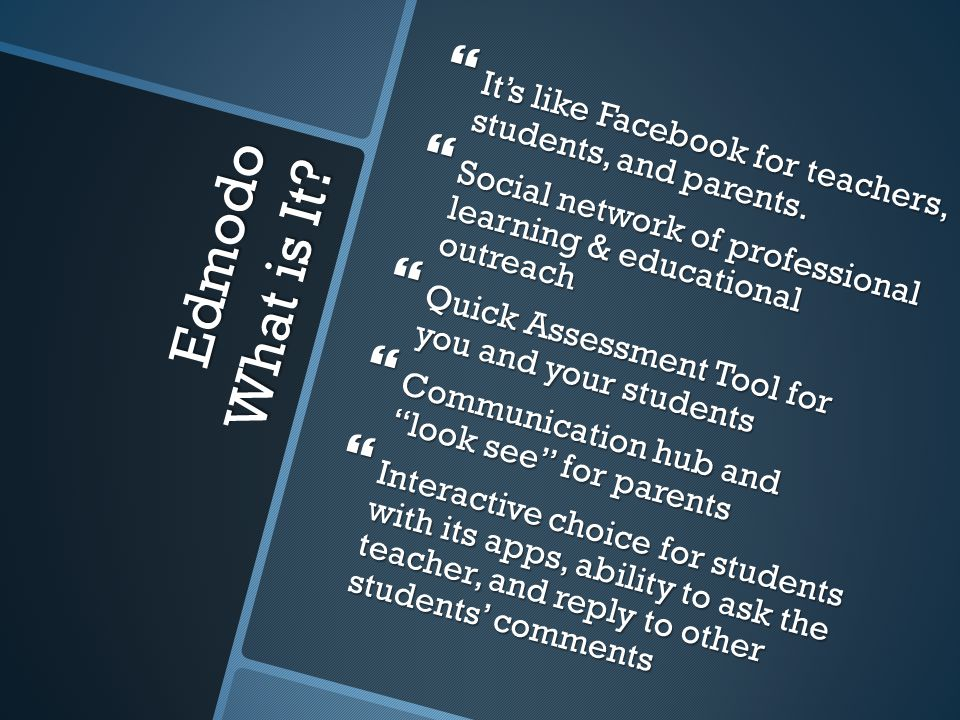 Edmodo What is It.  It's like Facebook for teachers, students, and parents.