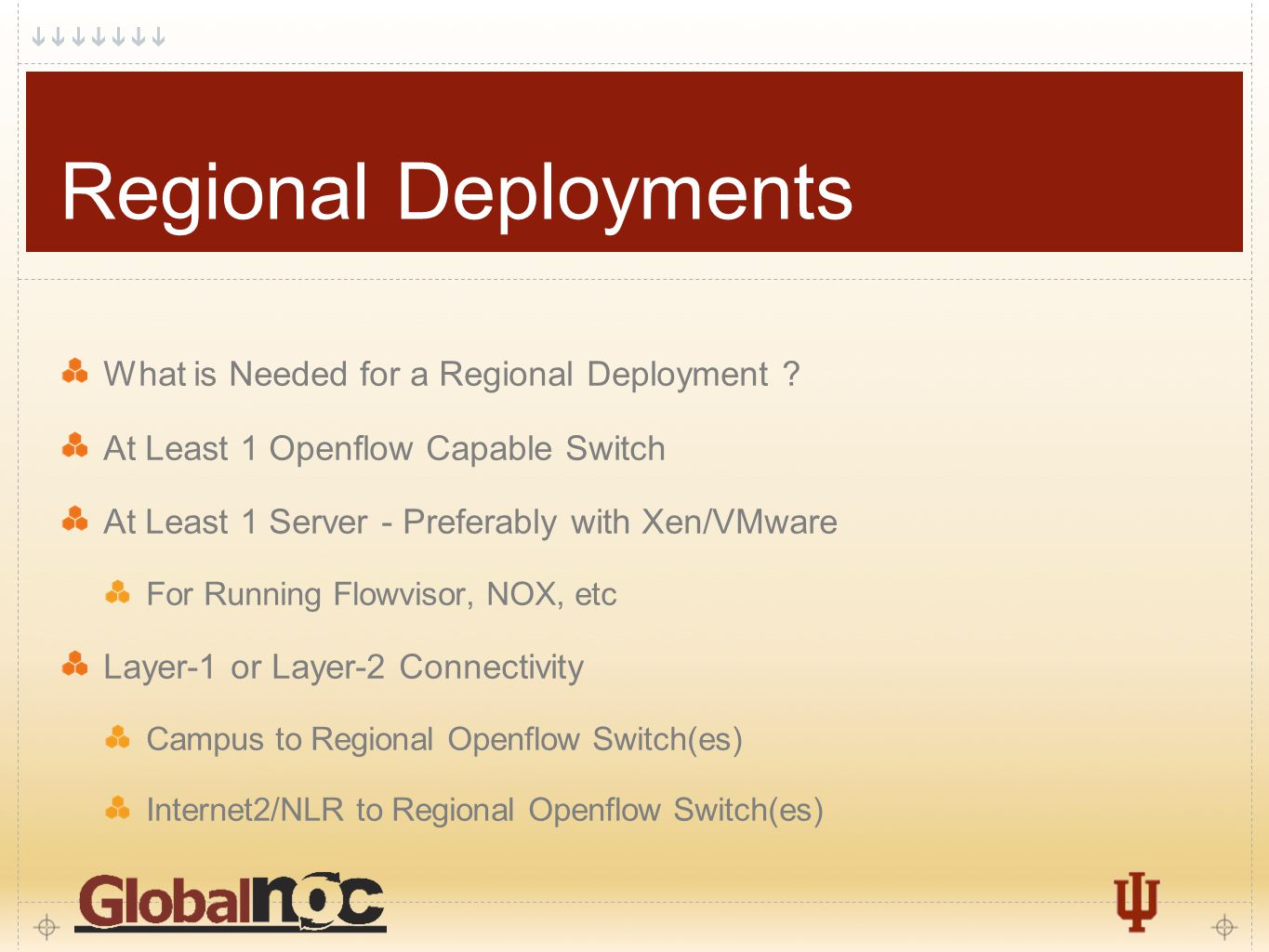 13 Regional Deployments What is Needed for a Regional Deployment ? At Least 1 Openflow Capable Switch At Least 1 Server - Preferably with Xen/VMware F