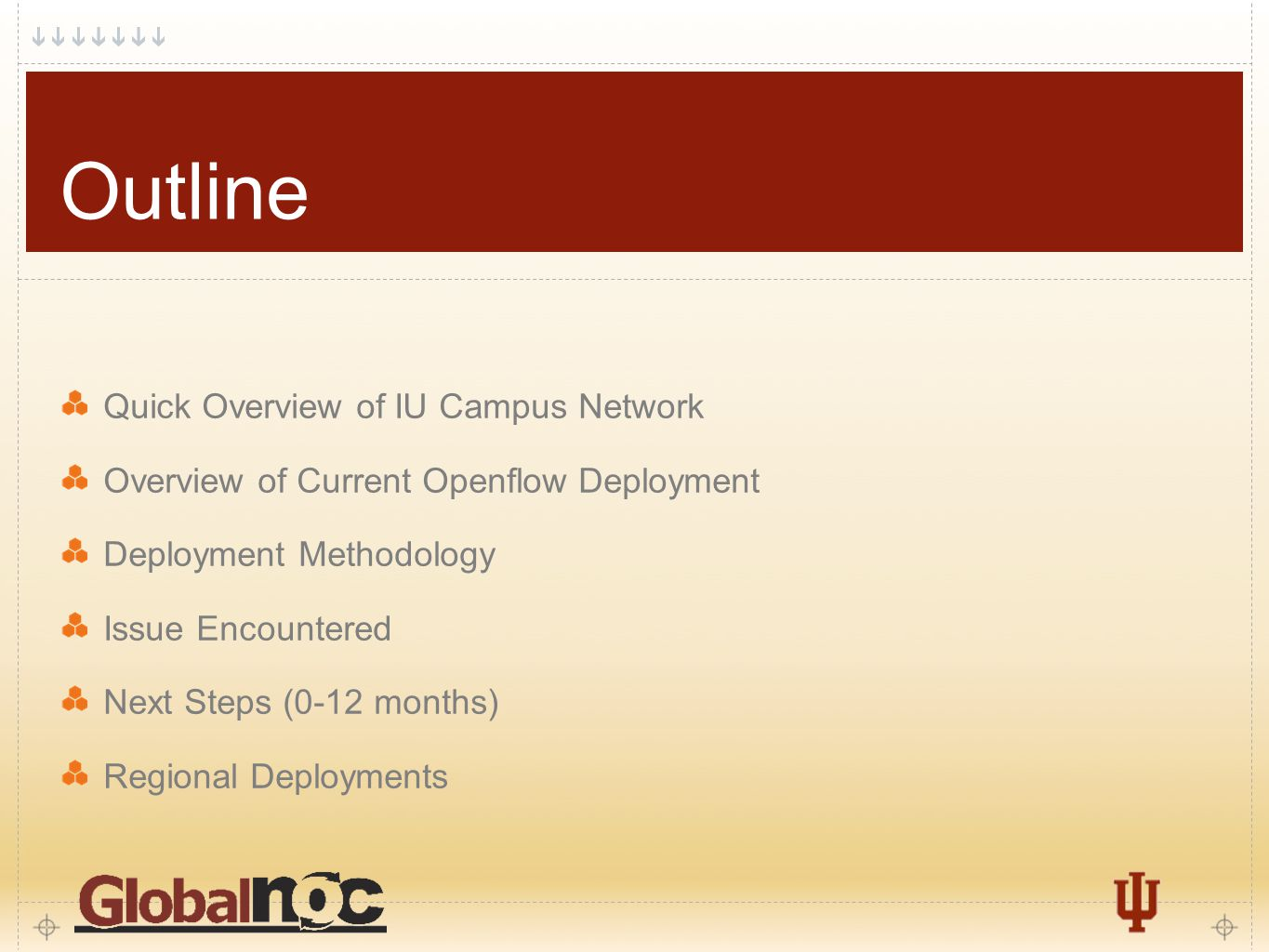 2 Outline Quick Overview of IU Campus Network Overview of Current Openflow Deployment Deployment Methodology Issue Encountered Next Steps (0-12 months) Regional Deployments