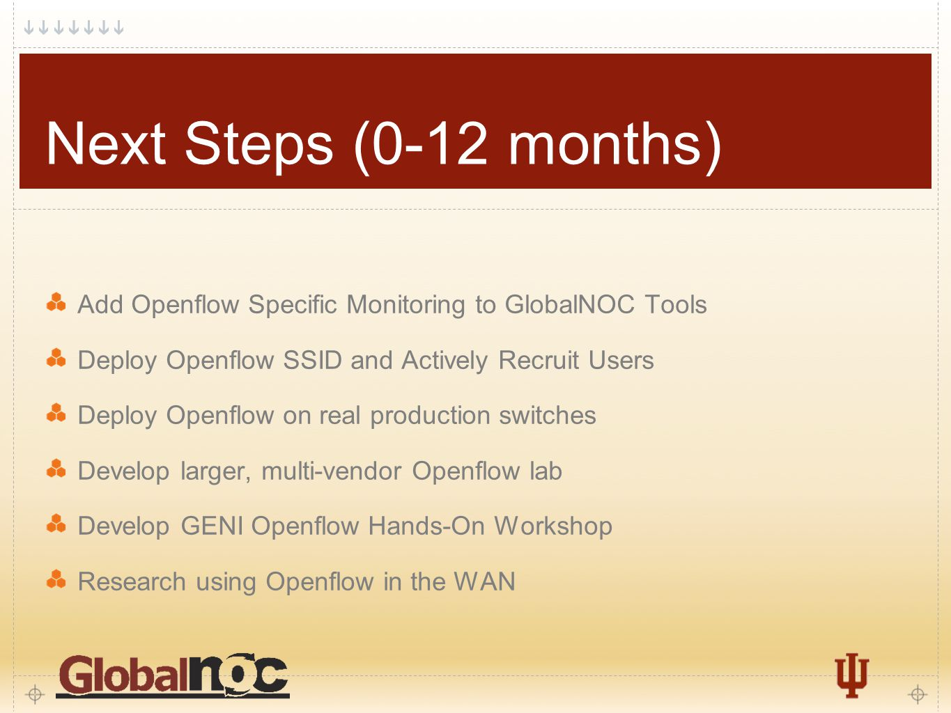 8 Next Steps (0-12 months) Add Openflow Specific Monitoring to GlobalNOC Tools Deploy Openflow SSID and Actively Recruit Users Deploy Openflow on real