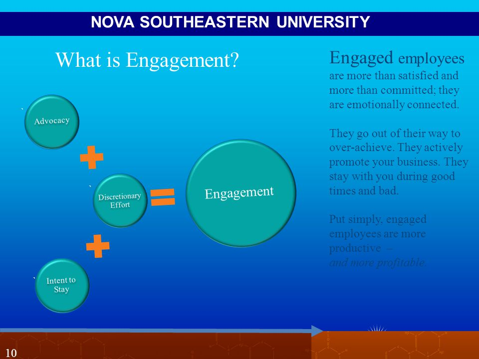NOVA SOUTHEASTERN UNIVERSITY 10 Engaged employees are more than satisfied and more than committed; they are emotionally connected.