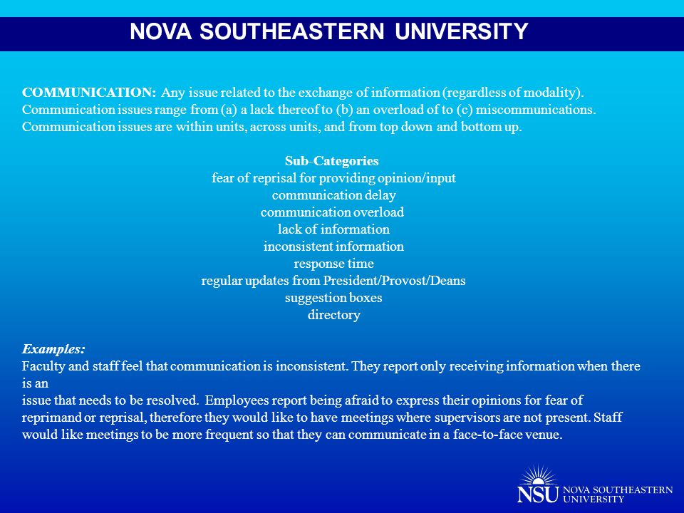 NOVA SOUTHEASTERN UNIVERSITY COMMUNICATION: Any issue related to the exchange of information (regardless of modality).
