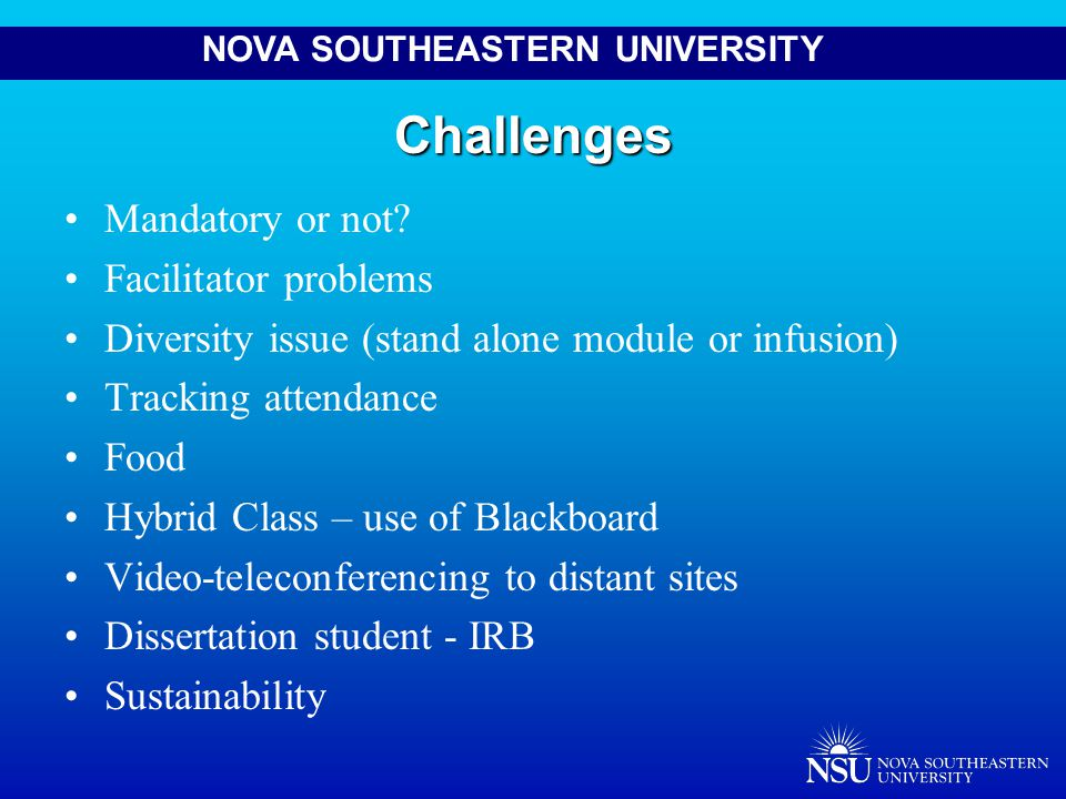 NOVA SOUTHEASTERN UNIVERSITYChallenges Mandatory or not.