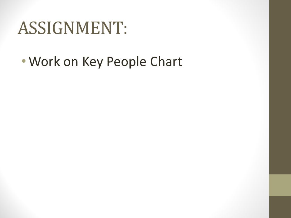 ASSIGNMENT: Work on Key People Chart