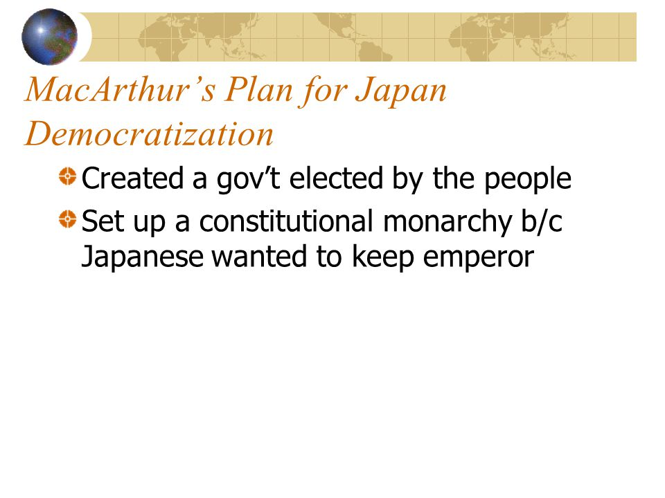 MacArthur's Plan for Japan Demilitarization Disbanded Japanese armed forces Left Japanese with small police force