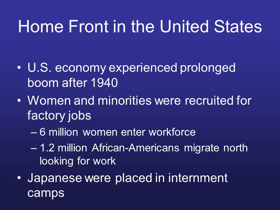 Home Front in the United States U.S.