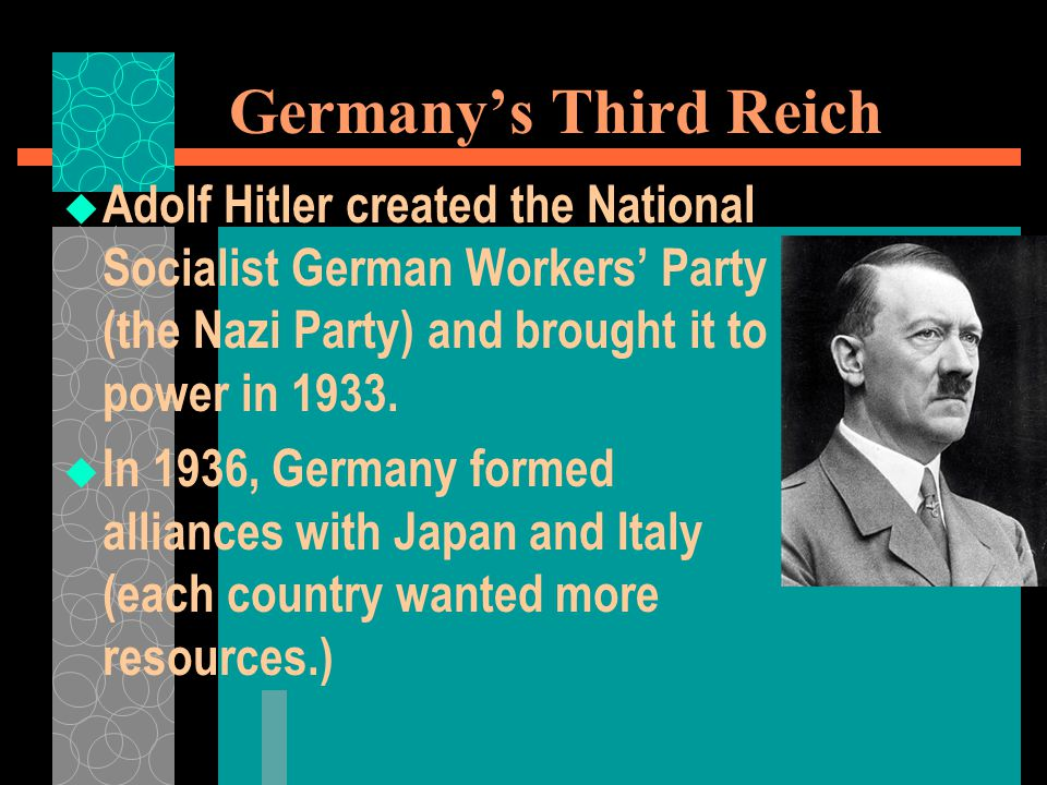 Germany's Third Reich  Adolf Hitler created the National Socialist German Workers' Party (the Nazi Party) and brought it to power in 1933.  In 1936,