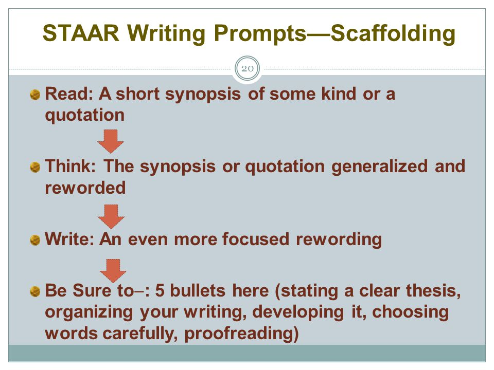 STAAR Writing Prompts—Scaffolding 20 Read: A short synopsis of some kind or a quotation Think: The synopsis or quotation generalized and reworded Writ