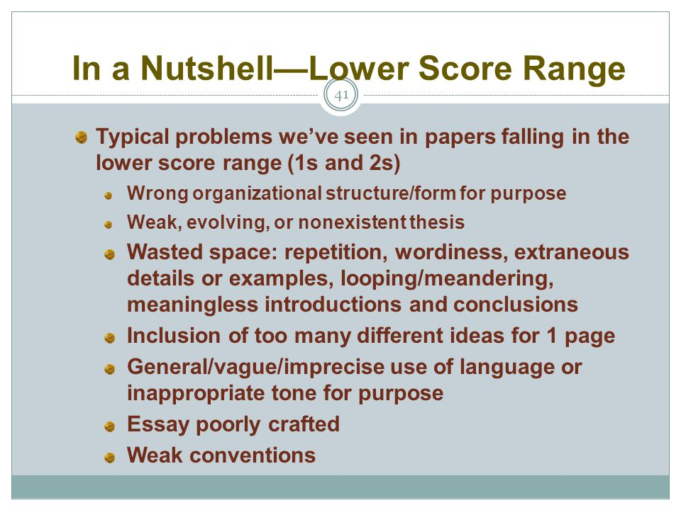 In a Nutshell—Lower Score Range 41 Typical problems we've seen in papers falling in the lower score range (1s and 2s) Wrong organizational structure/f