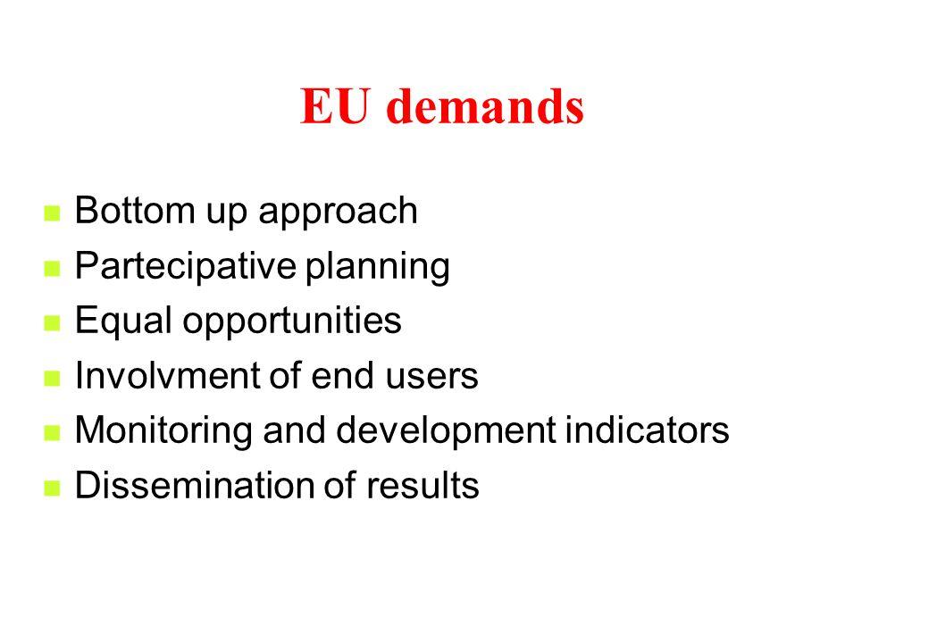 EU Guide lines Economic efficiency Social equity Environmental integrity Cutural identity