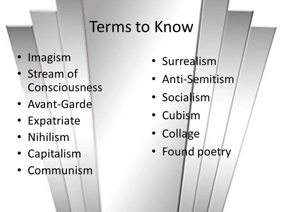 Terms to Know Imagism Stream of Consciousness Avant-Garde Expatriate Nihilism Capitalism Communism Surrealism Anti-Semitism Socialism Cubism Collage F
