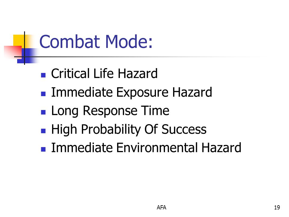 AFA19 Combat Mode: Critical Life Hazard Immediate Exposure Hazard Long Response Time High Probability Of Success Immediate Environmental Hazard