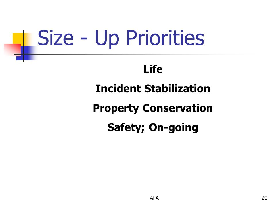 AFA29 Size - Up Priorities Life Incident Stabilization Property Conservation Safety; On-going